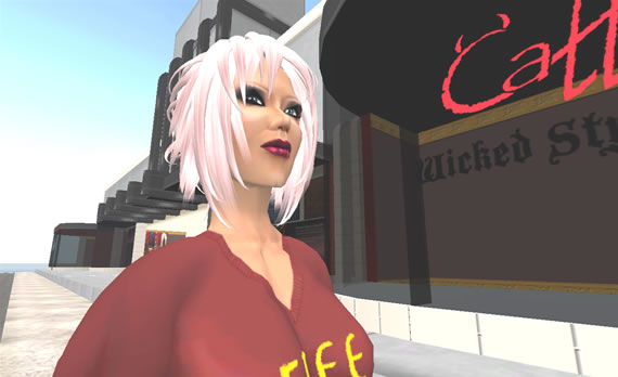 Lissa Maertens, Second Life Entrpreneur in front of her Second Life store.
