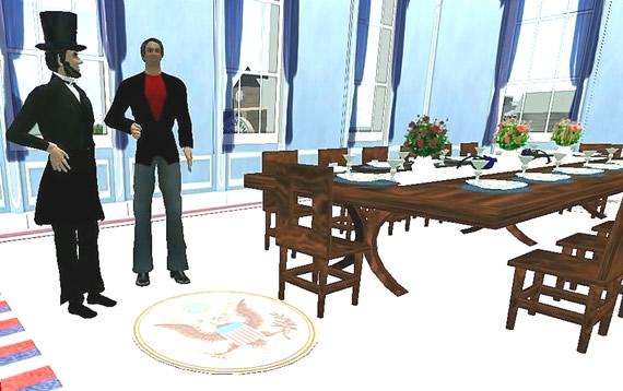 Abe Lincoln in Second Life with SLENTRE reporter CompE Lockwood aka Emmett Burnett.