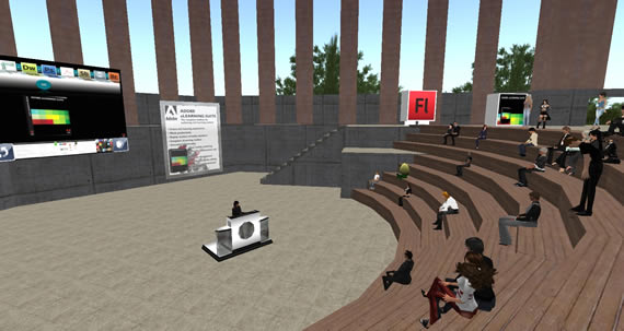 The opening day event took place in a reproduction of Adobe's real life amphitheater.