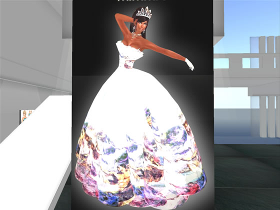 Pageant gown designed by Second Life designer Mami Jewell as worn by Mimmi Boa, winner of the Miss Virtual World 2009 competition.