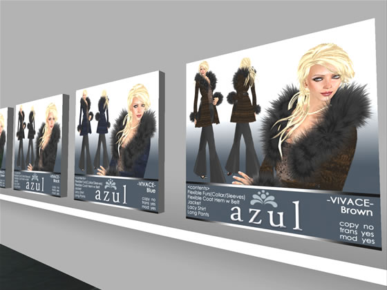 Fur coat and pants ensemble designed by Second Life designer Mimi Jewell.