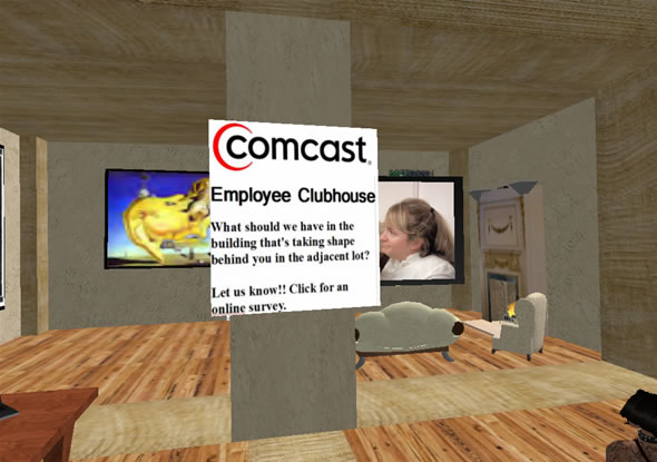 Comcast Clubhouse housed on Caldbeck in Second Life.