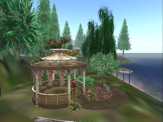 The gardens and ruins of Emerald Bay in Second Life.