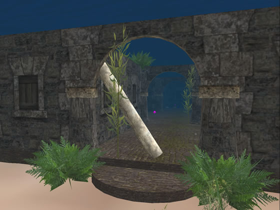 Entrance to the hidden, underwater dungeon on the Emerald Bay sim.