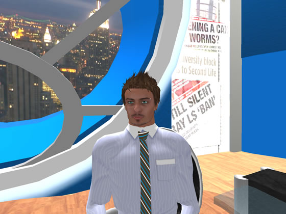 Robustus Hax, owner and operator of Metaverse Broadcasting Company atop his replica of the Chrysler Building