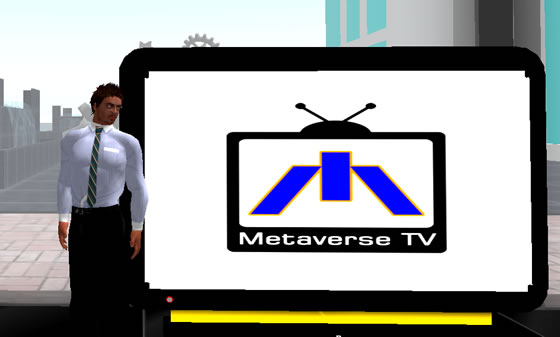 Robustus poses in front of the MBC logo in Second Life