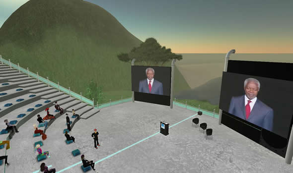 Kofi Annan speech streamed into Second Life
