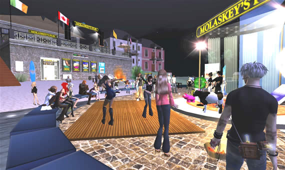 The crowd outside of Molaskey's Pub in Second Life.