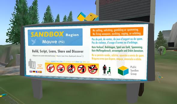 The sandbox on Mauve's Second Life Location