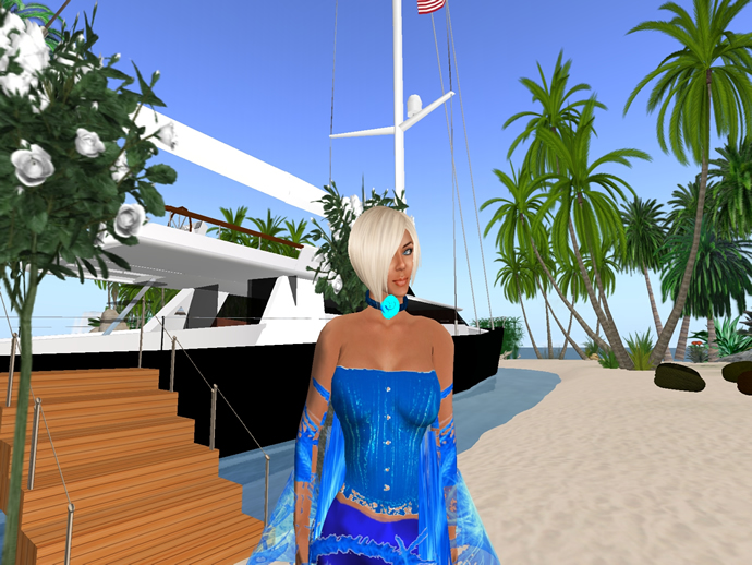 Mimi and her Yacht in Second Life the Windless