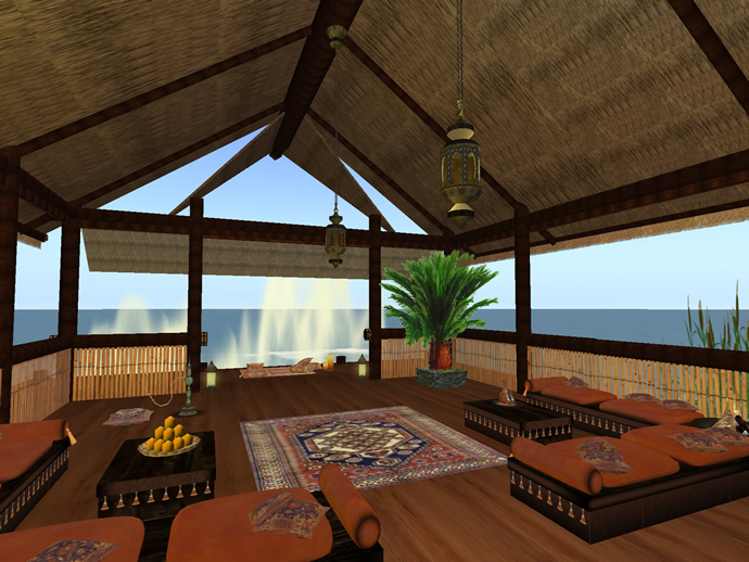 Tiki style guest house on Second Life island
