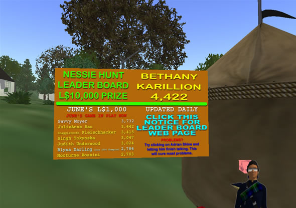 Nessie Quest game leader board.