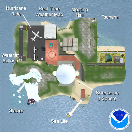 Map of the sections on the NOAA Second Life Island