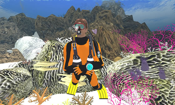 Exploring the coral reefs on NOAA's island in Second Life