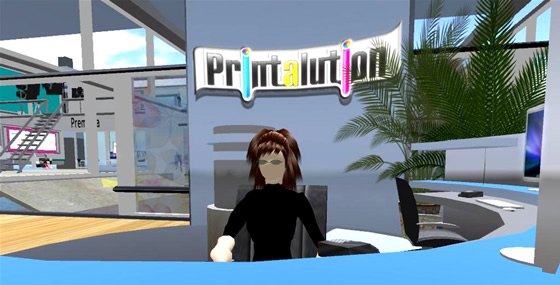 The reception area of Printalution is fashioned to be welcoming and user-friendly.