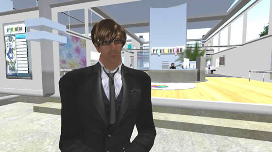 PrinterBrian Dowd, aka Brian Regan in real life welcomes visitors to Printalution, the printing communities new island in Second Life.
