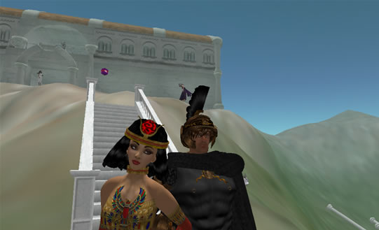 Cleopatra and Warrior take in the ruins on The Temple sim
