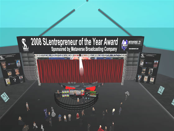 A crowd gathers at Madison Cube Garden as the 2008 SLentrepreneur of the Year is announced by Sigimund Leominster.