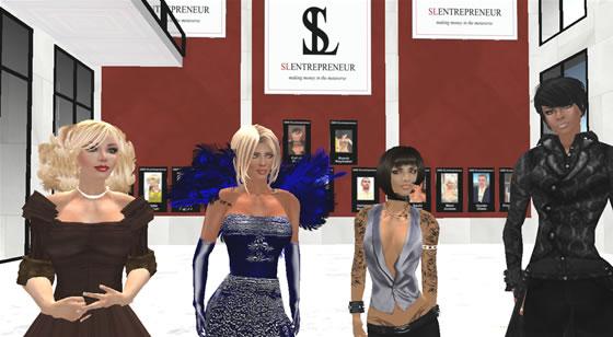 The 2008 SLentrepreneur winners, Saffia Widdershins, Mimi Juneau and Rusch Raymaker with SLENTRE.COM publisher Avarie Parker.