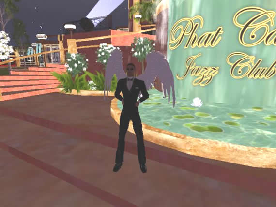 Sydney Chrome posing at Phats Jazz Club in Second Life.