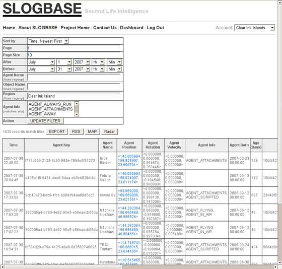 Screenshot of SLogbase reporting interface.
