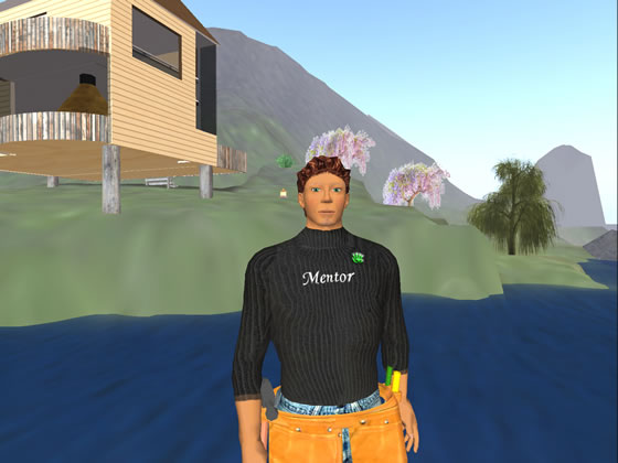 Metaverse Business owner, Louis Platini, outside his store in Second Life.