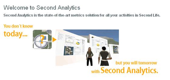 Virtual World Optimization and Analytics provide, Second Analytics